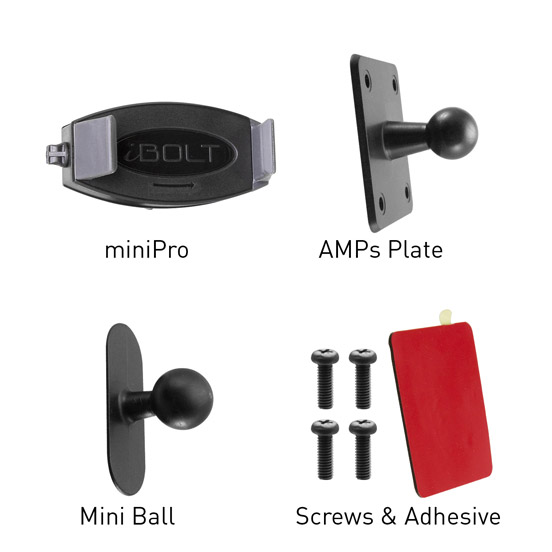 miniPro Amps Phone Holder Kit Contents